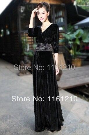 bd3a452ce8c Черный бархат нарядное платье макси платье Большие размеры  ужин Выпускной День рождения Свадебное платье