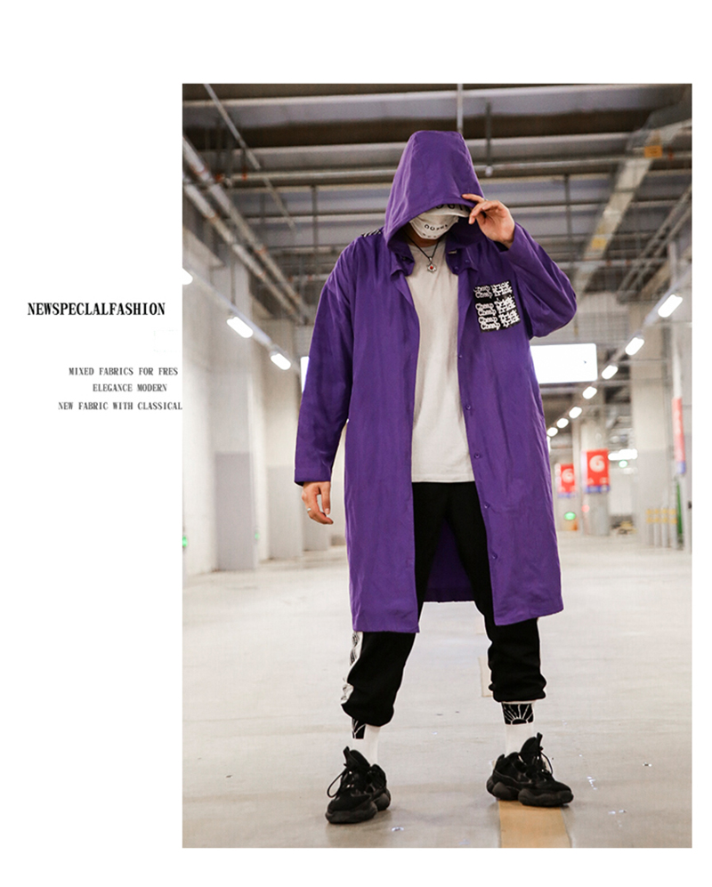 Long Men Trench Coat Casual Spring 2018 Slim Fit white Mens Hood Street South Korea Clothing (11)