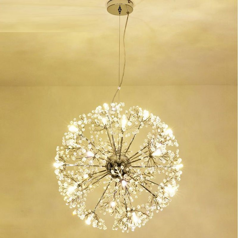 Modern Led Crystal Pendant Lamp Dandelion Chandelier Light Fixture For Dining Room Bedroom