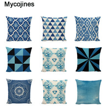 Retro Pope geometry Cushion Covers Blue Series Ethnic Pattern Bed  Home Improvement Decorating Square Linen Cotton Pillow