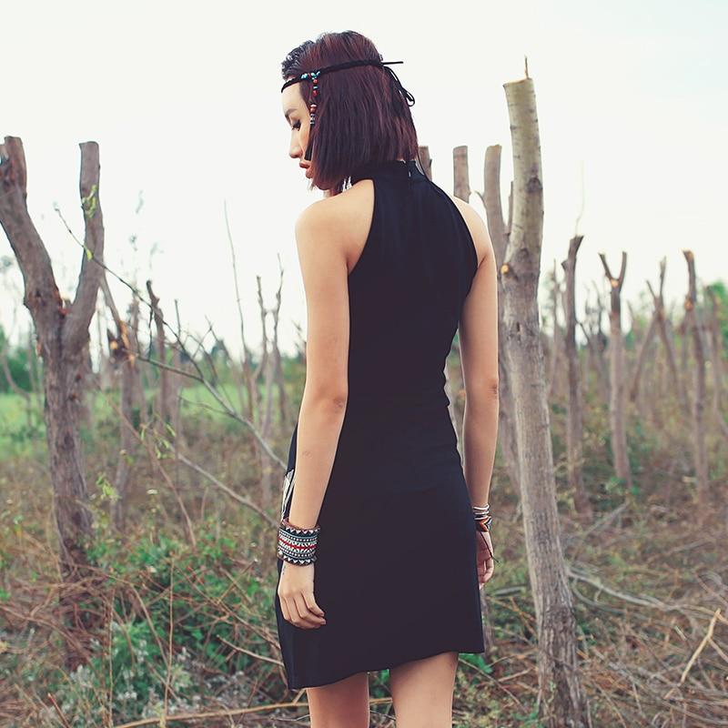 [Aporia. As] femmes National 2016 tendance brodé slim sexy placging sans manches gaine bref noir une pièce robe - 3
