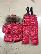 Новые зимние женщины вниз пальто + брюки вниз енота меховым воротником/ребенка детский зимний комбинезон одежда набор/детская одежда установить вниз бесплатная доставка