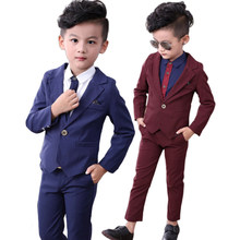 Kids Suits Blazers Autumn Baby Boys Suits Set Formal Shirt Coat Pants Wedding Suit for Boys Party Wear Cotton Children Clothes(China)