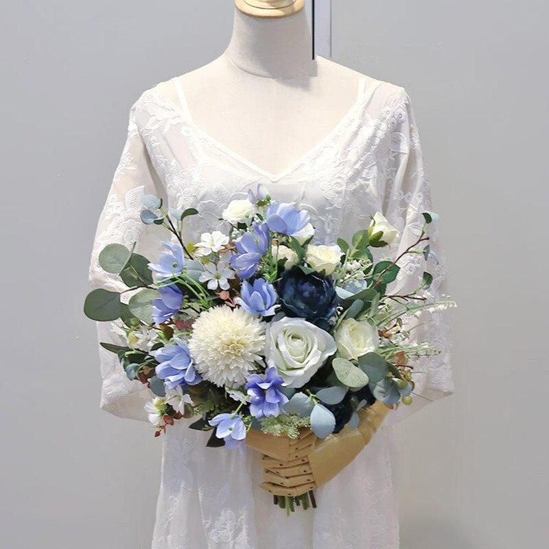 JaneVini élégant Rose Bouquets de mariage nuptiale tenant fleur vraie touche artificielle soie Rose mariée accessoires Ramo Flores Novia - 2