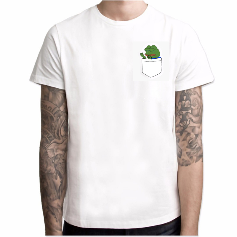 Sumer Hot Meme Pepe Frog   T     Shirt   Men Summer Fashion Sad Frog Pepe Tshirt Printed Harajuku   T  -  shirt   Casual O-Neck