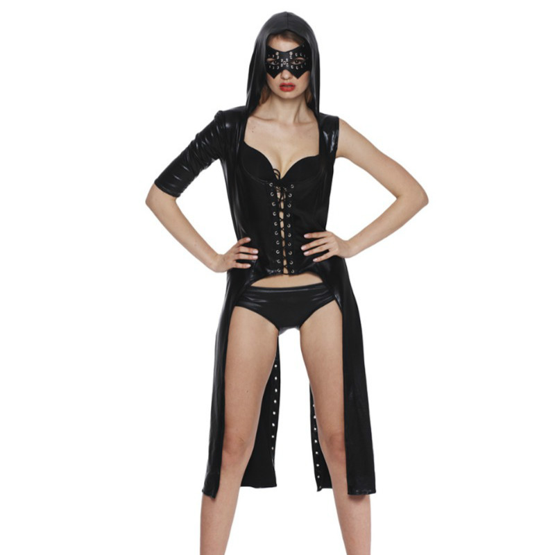 New Sexy Women Sexy Leather dress Latex Uniform Party Black Hooded Set Halloween Clubwear One-Shoulder Hollow Out Costumes