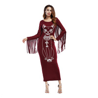 2017 Tiger Print Autumn Women Dress Casual Bodycon Winter Party Dresses With Tassel Long Sleeve Ladies