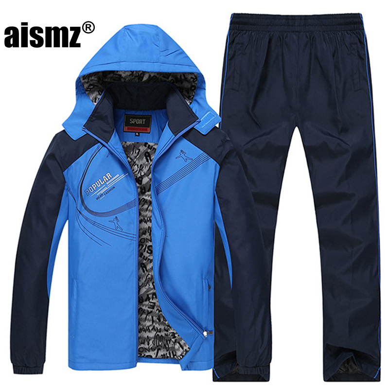 Aismz taille L ~ 5XL 6XL veste d'hiver hommes sportsuit sportwear hommes survêtement sweat capuche hommes ensemble parka manteau marque vêtements