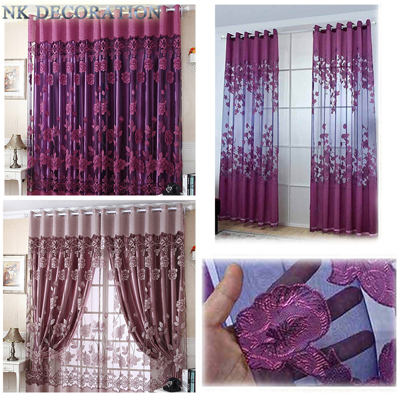 Kitchen Curtains At Big Lots: Flower Tulle Living Room Curtains Set Voile Valance With
