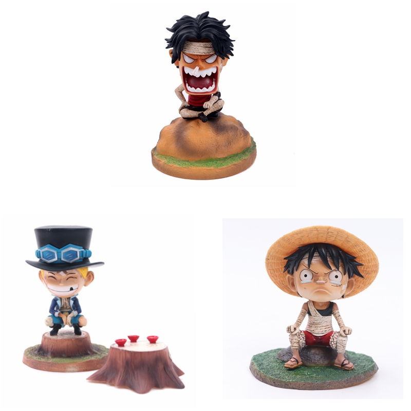 Anime one piece pvc action figure Q version Sabo Portgas D Ace Monkey D Luffy three brothers action figure kids model toys doll