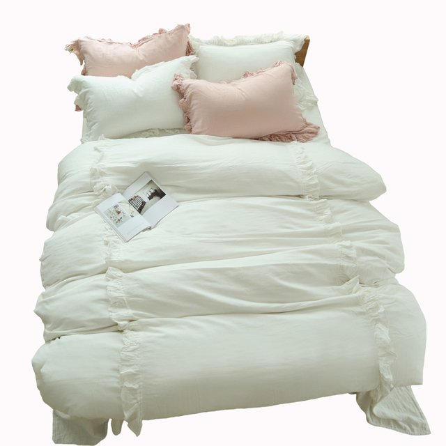 Ruffled Luxury Lace Ruffle Bedding Set White Pink Blue Grey Duvet