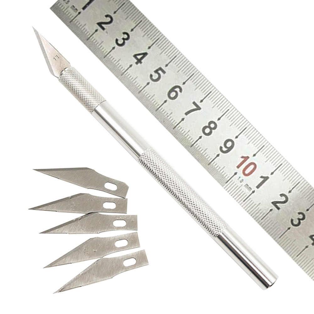 Нескользящий металлический скульптурный нож набор инструментов Резак для поделок гравюра ножи + 5 шт. лезвия мобильный телефон PCB ремонт ручные инструменты