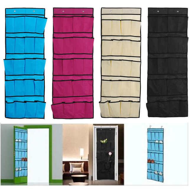 Estante de almacenamiento creativo de 20 bolsillos colgante sobre la puerta organizador de zapatos bolsa de almacenamiento caja de gancho de armario estante de Ducha