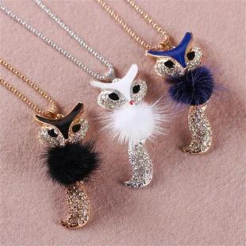 2018 Hot Fashion Charm Fox Copper Collar Sequin Pendent Choker Long Necklace For Women Retro Jewelry Wedding Sweater Chain