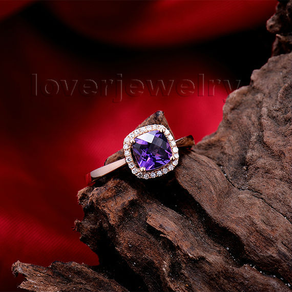 NEW Fashion Jewelry Cushion Purple Amethyst Ring With Natural Diamond In 18Kt Gold Ring For Anniversary SR0333