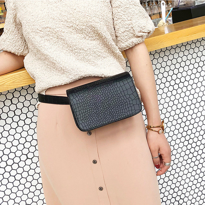 Alligator Pattern Waist Packs Women Leather PU Adjustable Belt Bag Waist Pack Wallet Phone Pouch Ladies Salesperson Work Bags MINI