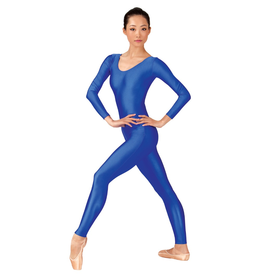 Adult Blue Basic Nylon Scoop Neck Womens Long Sleeve Unitards Footless Spandex Dance Unitard Costume Gymnastics Ladies Bodysuits