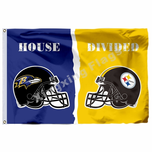 0122390b US $6.0 |Baltimore Ravens Pittsburgh Steelers Helmet House Divided Flag 3ft  X 5ft Polyester NFL1 Banner Flying Size No.4 90*150cm-in Flags, Banners &  ...