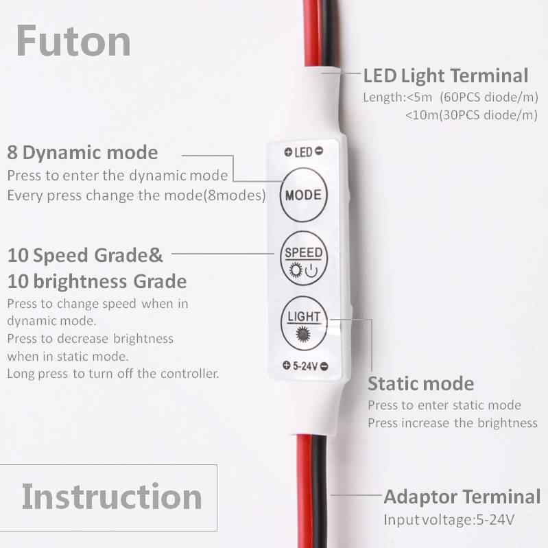 DC 5 ~ 12 V работает ключ переключатель управления Светодиодный светильник Диммер для светодиодный полосы света