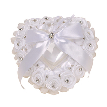 White Wedding Rose Flowers Bow Heart Shaped Ring Box Pillow Valentine's Day Gift Ring Cushion Bridal Ceremony Wedding Decor heart shaped wedding ring pillow artificial rose flowers crystal fake pearls decor ring holder d1 decor
