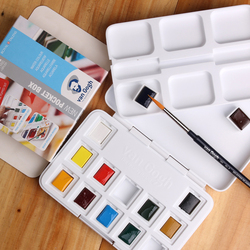 Free shipping New packing Van Gogh 12 color solid watercolor pigment  as a present give paintbrush