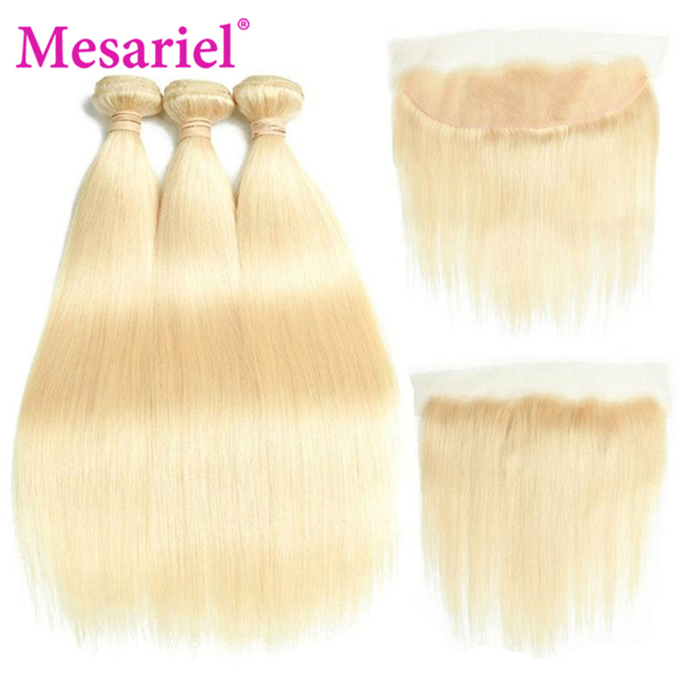 Mesariel 613 Bundles With Frontal 13*4 Free Part Brazilian Hair Weave 3 Bundles Remy Hair Straight Hair Bundles With Frontal