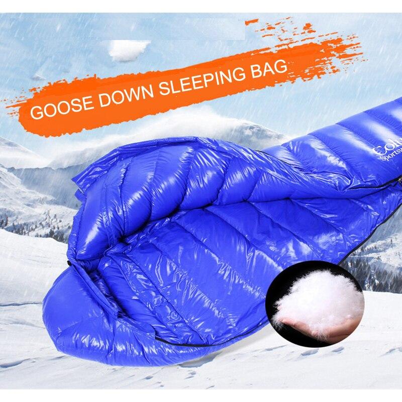 800g/1000g/1200g Filler Goose down Outdoor Ultralight Mummy Type White Camping Winter Sleeping Bag saco dormir invierno цена