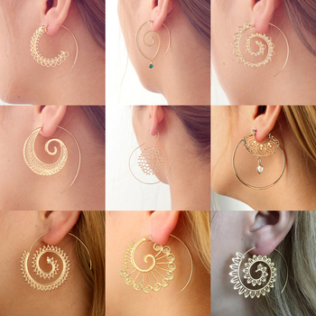 Tocona Ethnic Spiral Earrings exaggerated Whirlpool Gear Earrings for Women Hoop Gypsy Tribal Earrings Jewelry