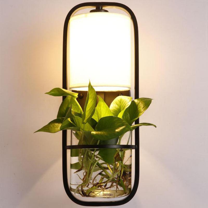 Пасторальный Творческий коттедж растения ваза LED E27 бра для балкон бар Гостиная гладить Стекло настенный светильник высота 50 см 2159