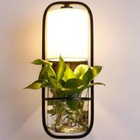 Pastoral Creative Cottage Plants Vase Led E27 Wall Lamp For Balcony Bar Living Room Iron Glass Wall Light H 50cm 2159