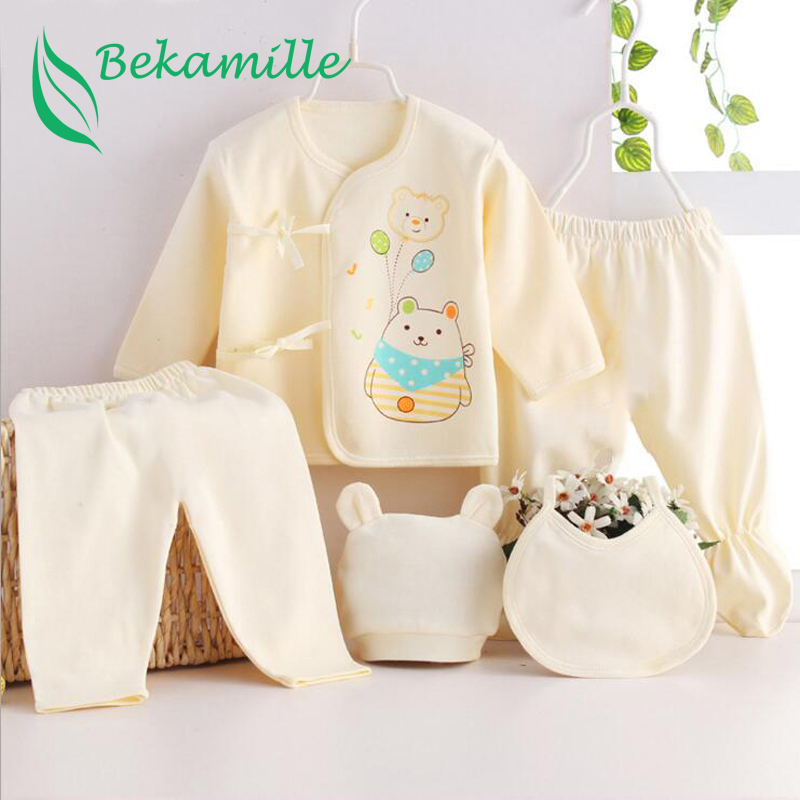 Newborn Baby Suits Pure Cotton ( 5pcs/set)  Baby Fashion Underwear 15 Colors Sets Infant Unisex Suit