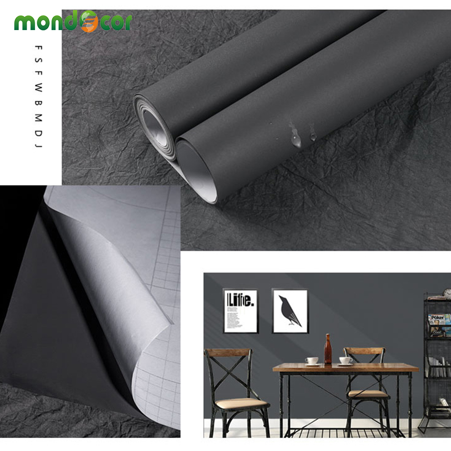 Black Wood Grain Marble Solid Self Adhesive Wallpaper for Kitchen Cabinets Countertops Door Wall Sticker PVC Vinyl Contact Paper in Wallpapers from Home Improvement