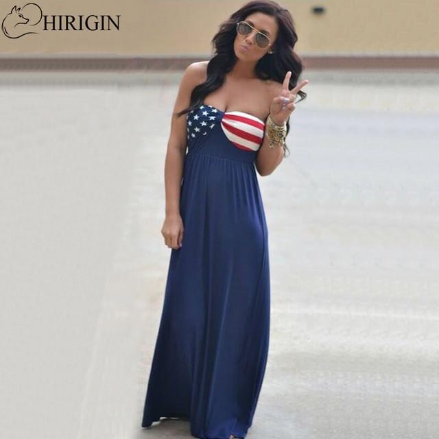 Hirigin 2017 New Sexy Strapless Maxi Dresses Summer American Flag