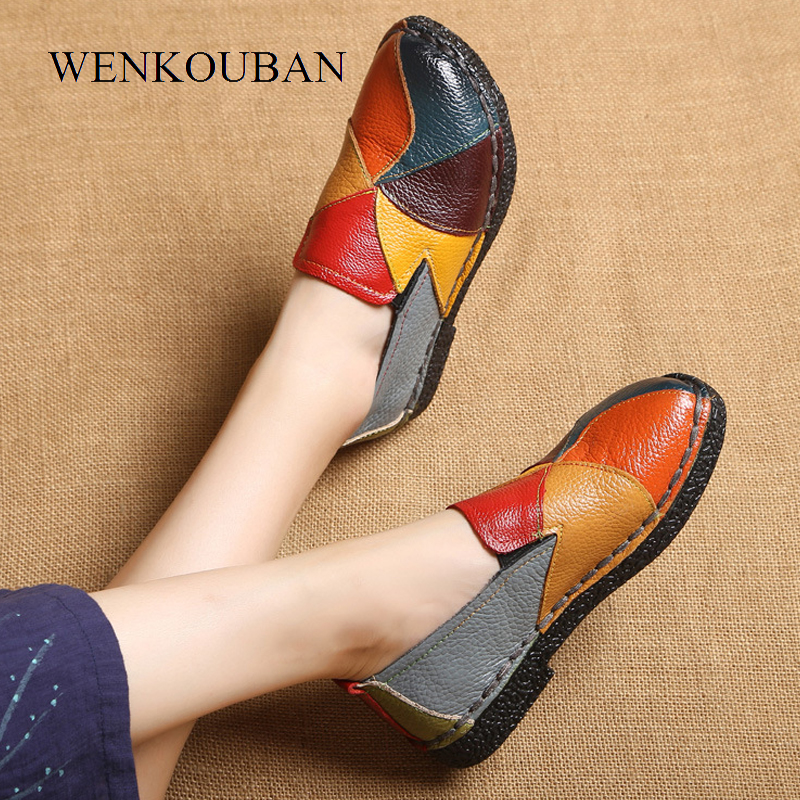 Image 2 - Genuine Leather Shoes Women Loafers Flats Moccasins Women Flat Shoes Slip On Summer platform Shoes Ladies Casual Zapatos MujerWomens Flats   -