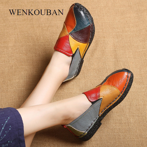 Image 2 - Genuine Leather Shoes Women Loafers Flats Moccasins Women Flat Shoes Slip On Summer platform Shoes Ladies Casual Zapatos Mujer