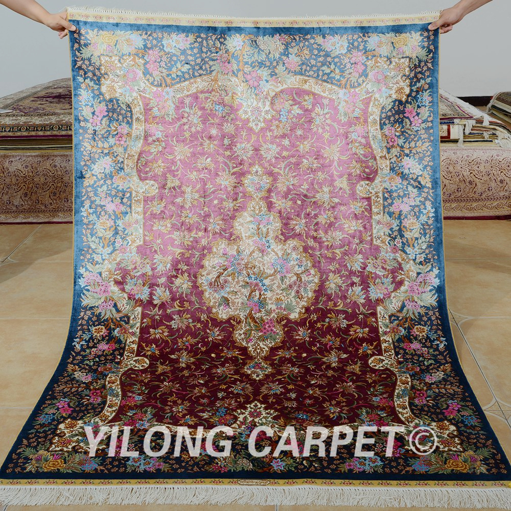 Yilong 4u0027x6u0027 Traditional Red Purple Living Room Carpet Vantage Antique Rugs  For Sale