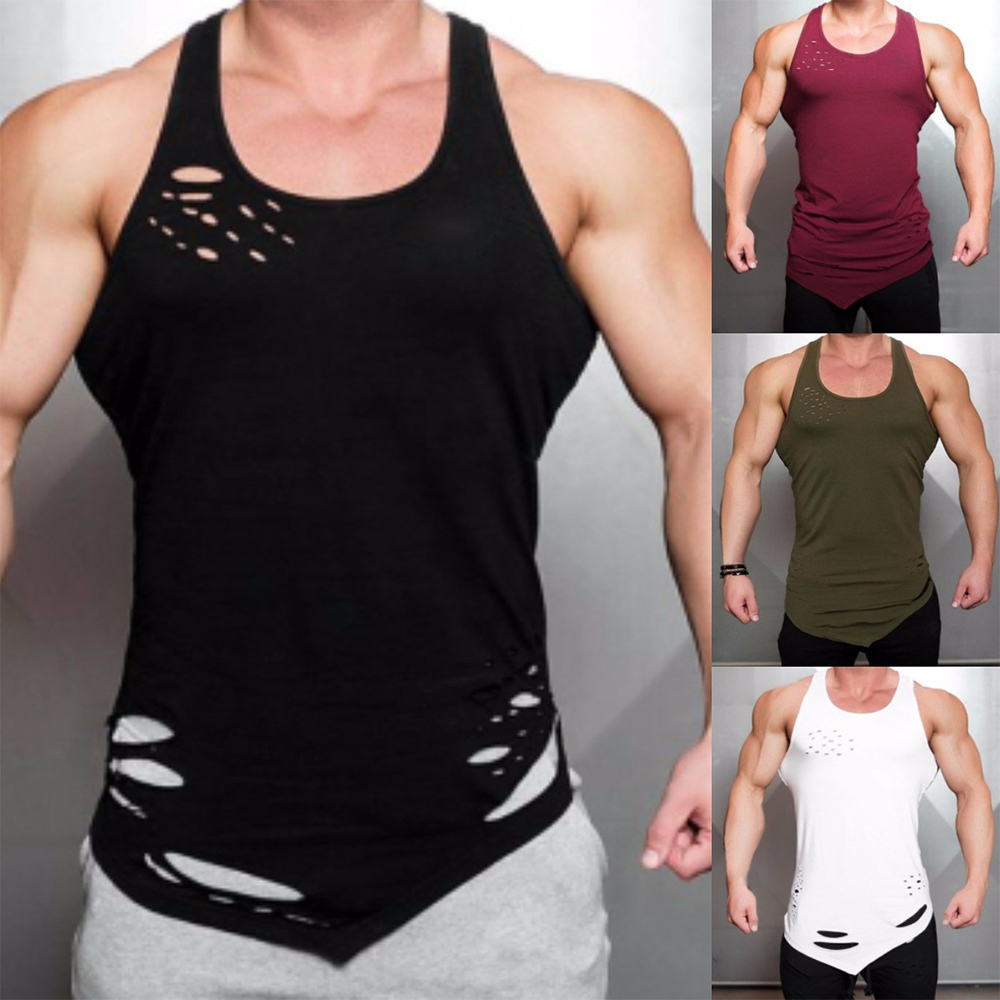 OA Men's Fitness Tear Hole Irregular Tank Tops Gyms Workout Breathable Sleeveless Vests Solid Bodybuilding Singlet For Male