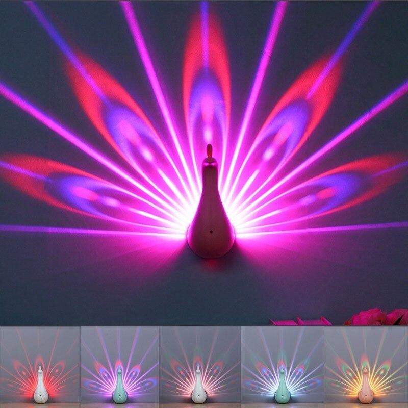 Neue 3D Pfau Smart Touch LED Nachtlicht Projektor Lampe 7 Farbwechsel Mit Fernbedienung Neuheit Hause Dekorative Wand lampe