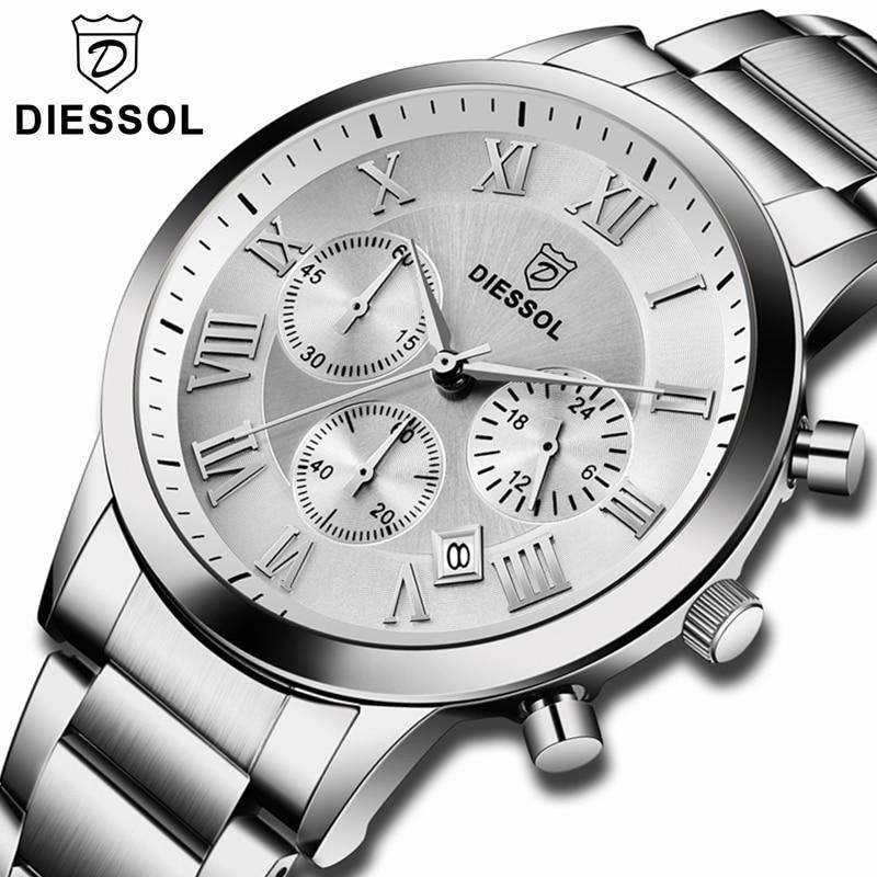 DIESSOL Mens Watches Top Brand Luxury Chronograph Quartz Watch Men Full Steel Casual Waterproof Business Watch