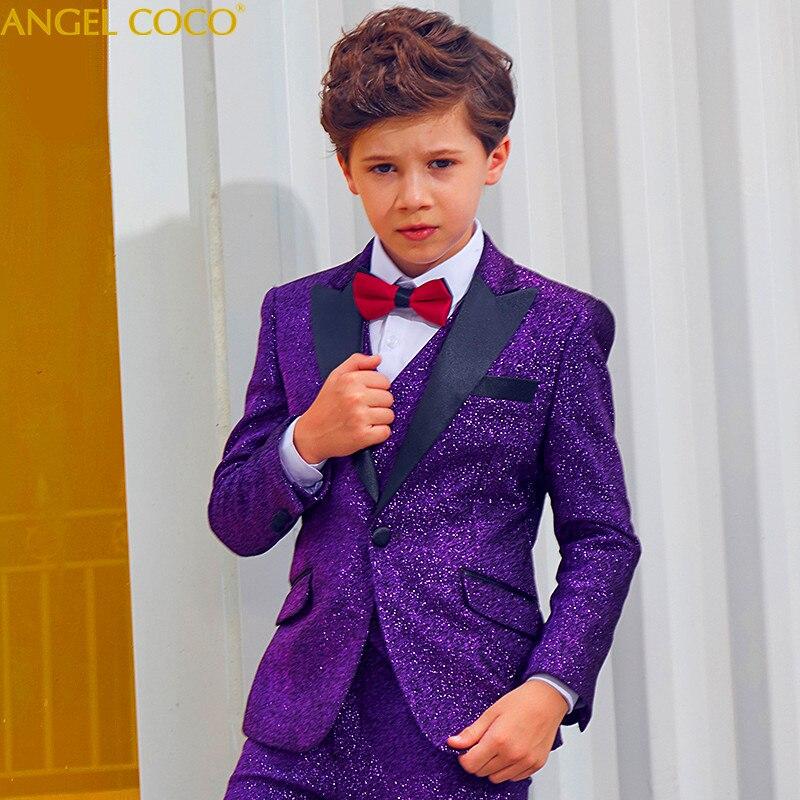 Púrpura juego de los muchachos de los niños premios grandes chicos trajes para bodas cumpleaños Formal brillante baile traje Garcon