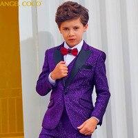 Purple Boys Suit Children's Awards Dress Big Boys Suits For Weddings Birthday Formal Shiny Blazer Prom Suits Costume Garcon