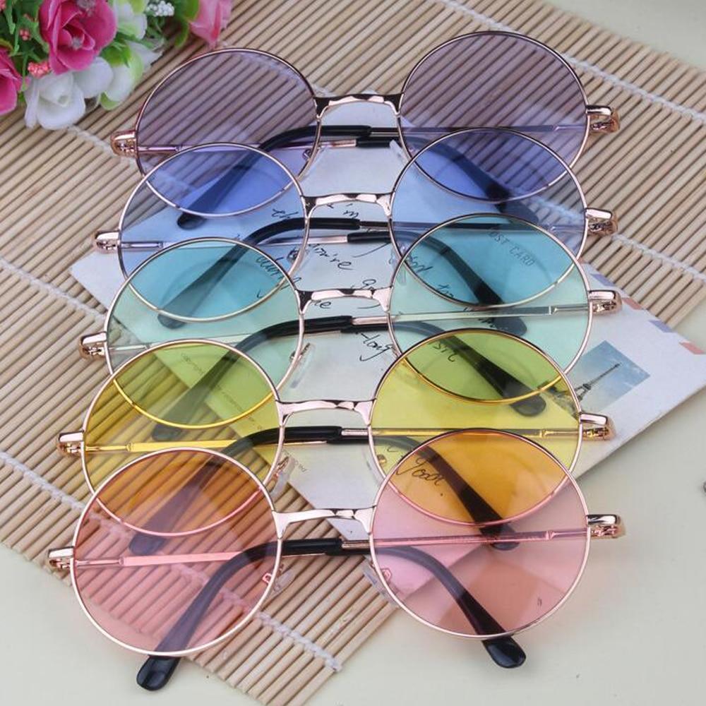 Frauen Farbe Runde Sonnenbrille Golden Frame Brille Shades Hippie ...