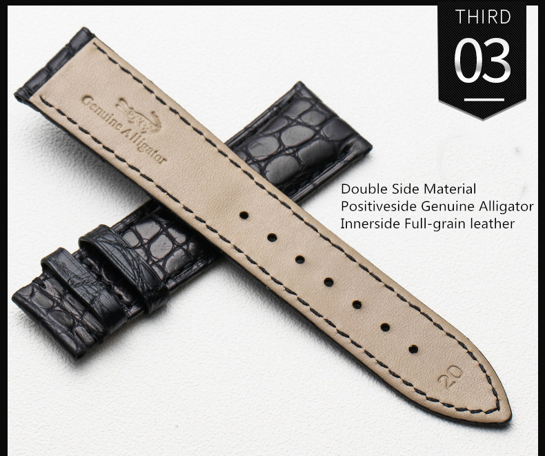 Image 5 - Watchband 12mm 14mm 16mm 18mm 20mm 22mm 24mm Alligator Full grain Crocodile Grain Genuine Leather bands Black Brown Watch StrapWatchbands   -