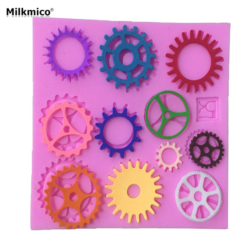 Milkmico Gear Hardware Shaped Silicone Gift Mold Fondant Tools For Kids Baby Handmade DIY Cartoon Cake Decorating Mould Supplies