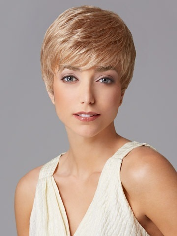 Perfect Hot sale Pixie cut Synthetic wigs Short Straight layered Blonde hair wig with Bangs for women Free shipping