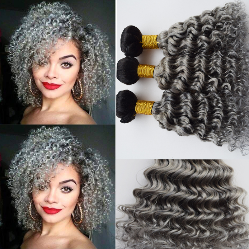 Brazilian Kinky Curly Hair Ombre Grey Hair Weave 3 Bundles