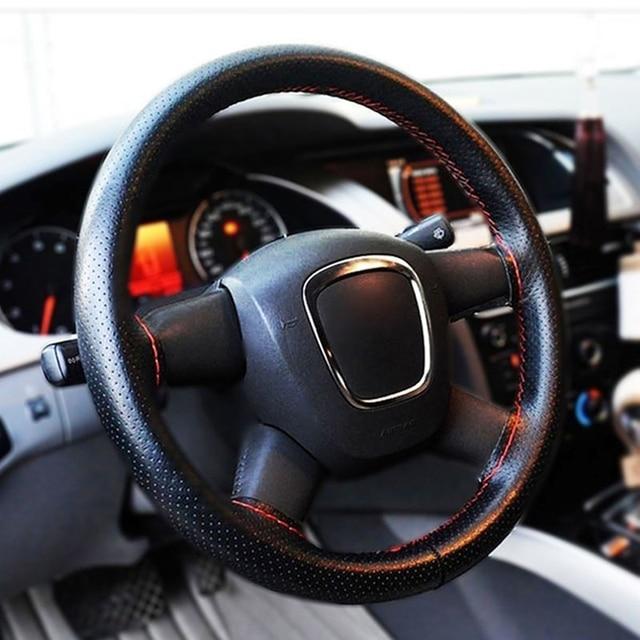 2016 New Universal braid on the steering wheel Sew Microfiber car steering wheel cover to cover the entire single connector 38cm