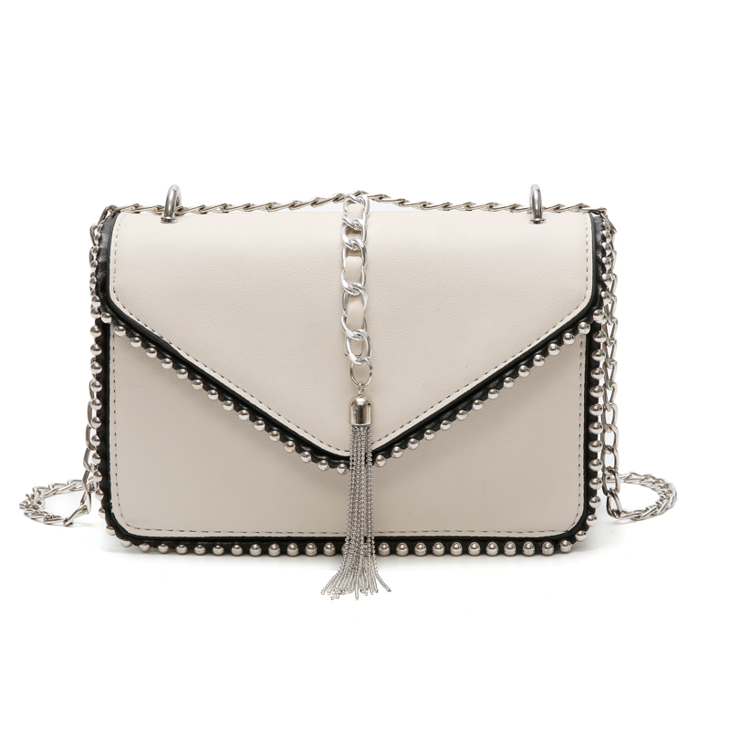 Women Brand Desinger Spring Rivets PU Leather Shoulder Bag Small Chain Tassel Crossbody Bag For Girls Ladies Bag Bolso Mujer 956