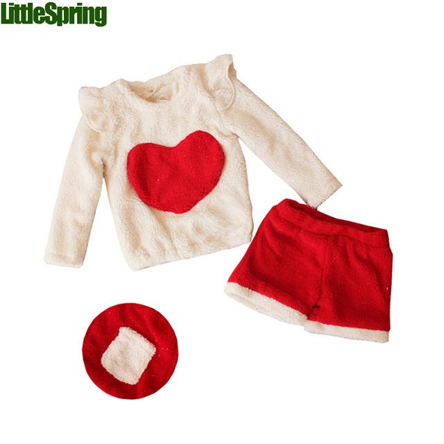 LittleSpring de boa Qualidade Bebê Menina Roupa Do Natal Conjunto Coração Na Moda Inverno Grosso Pulôver de Lã + Calças Crianças Menina Outwear Conjuntos