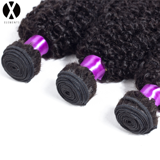 X-Elements  Human Hair Bundles Kinky Curly 1 Bundles Weaves Non-Remy Peruvian Natural Color Hair Extensions 8″-26″